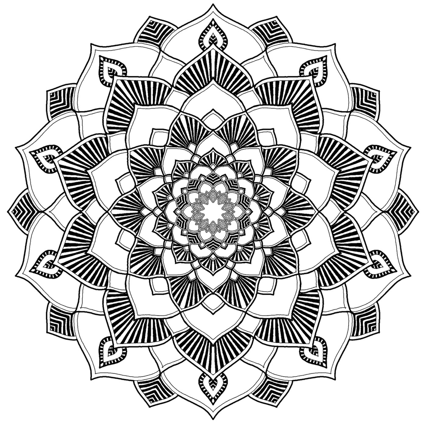 A Mandala not too difficult, suitable for those who want to color and thinking to nothing else. Its patterns are just beautiful !