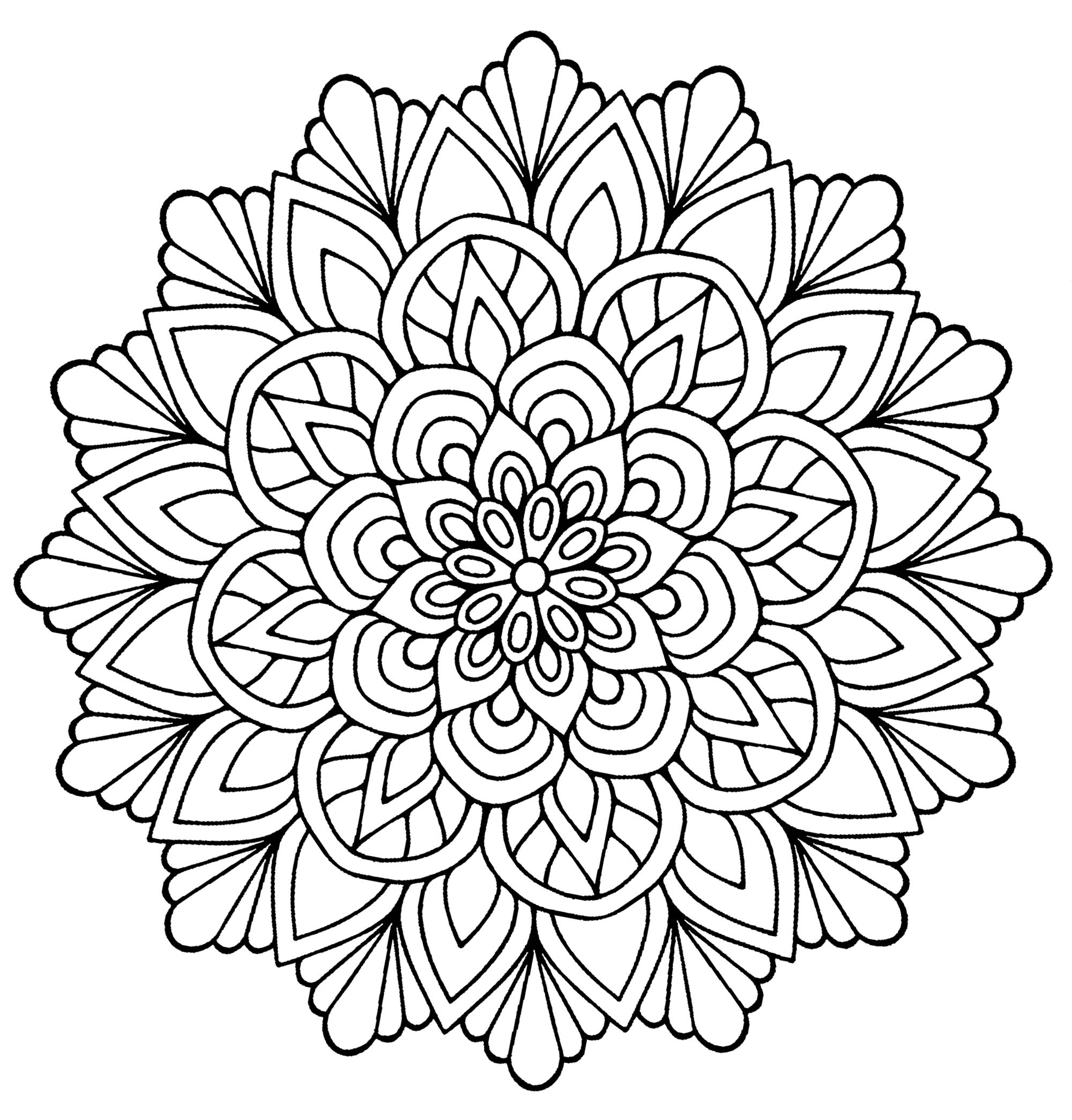simple mandala flower coloring pages | Easy Flower with leaves - Simple Mandalas - 100% Mandalas ...
