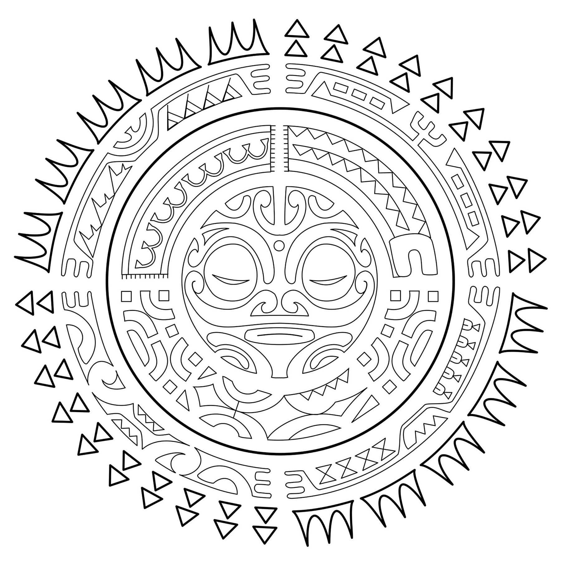 "The sun is a universal symbol of eternity and life. In Polynesian cultures it is also regarded as a symbol of health, welfare, success, joy, purity, and fertility. It's considered a male symbol, associated with fire. The rising sun symbolizes a fresh start, new life, and growth, while the setting sun can be a symbol of rest and peace, with the continuous cycle of day and night symbolizing eternity. The sun in this tattoo is a symbol of protection, like the guardian tiki in the center of the design. The elements surrounding it represent protection from adversities (symbolized by the moray eel), cooperation, strength, and good luck in order to achieve stability, prosperity, and unity.  From the book Polynesian Tattoos: 42 Modern Tribal Designs to Color and Explore by Italian tattoo artist and author, Roberto ""GiErre"" Gemori. Product page : www.shambhala.com/polynesian-tattoos.html Author's website: Tattootribes.com"