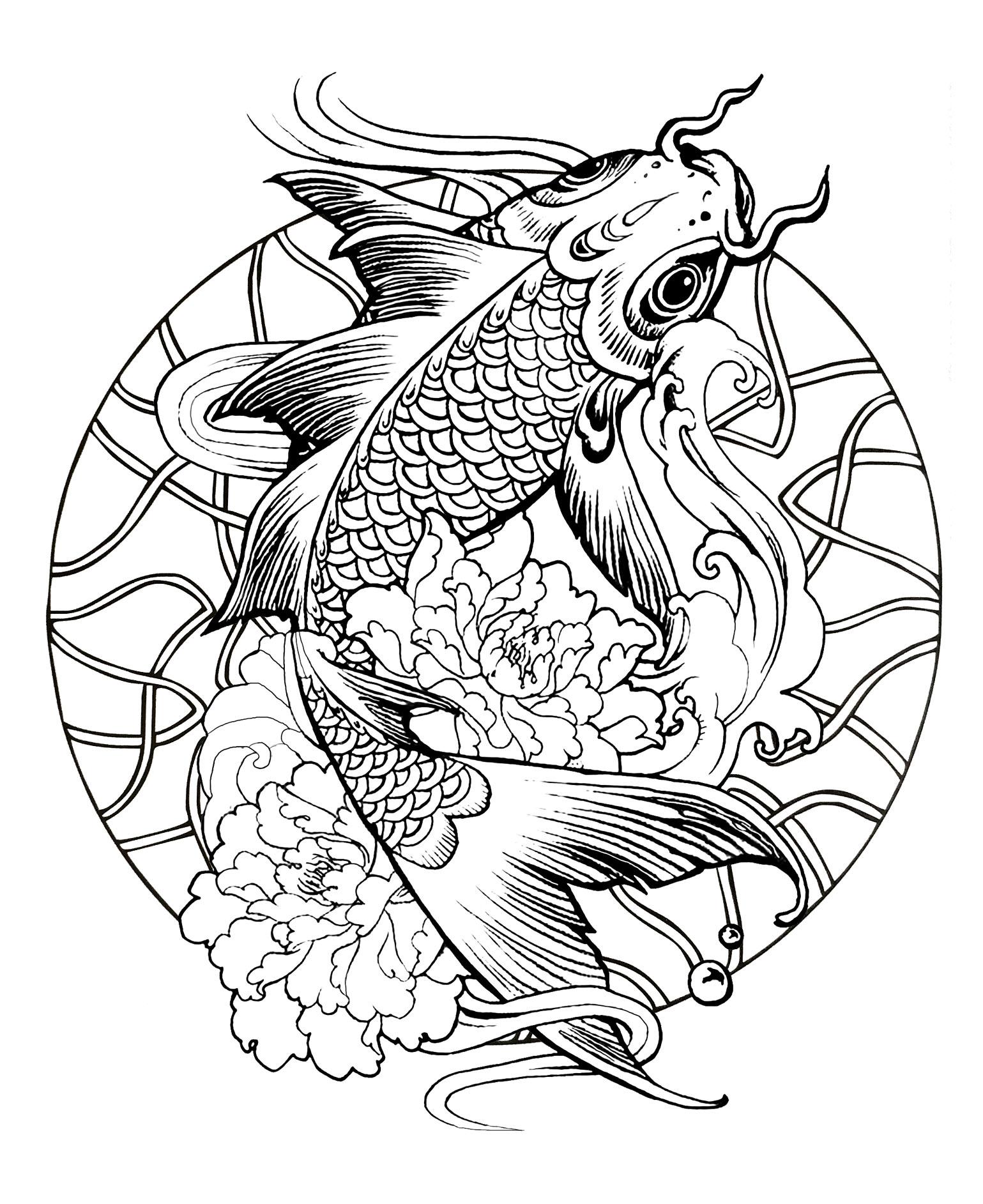 Mandala Fish Carp Simple Mandalas 100 Mandalas Zen