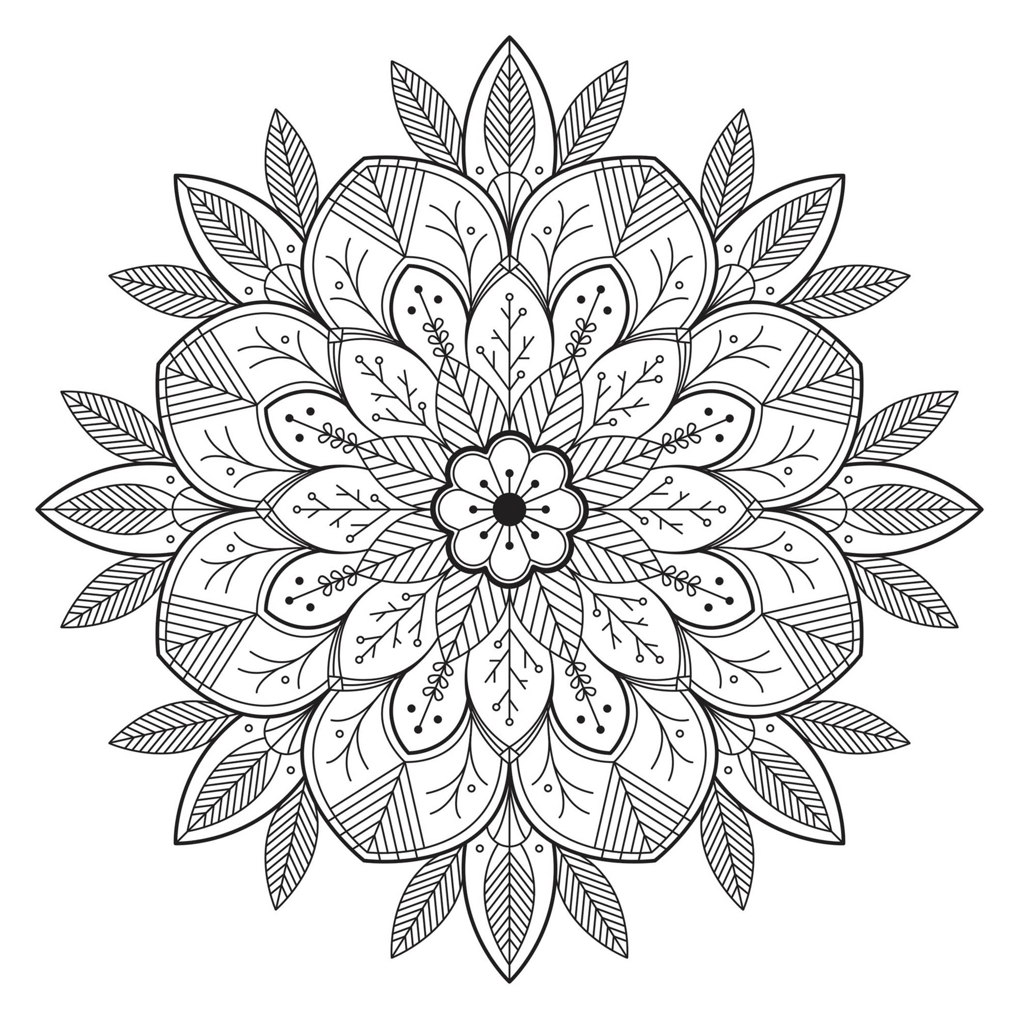 Simple Flowery and Leafy Mandala. Details relatively simple to color, for a Mandala coloring page very unique and of high quality. You must clear your mind and allow yourself to forget all your worries and responsibilities.