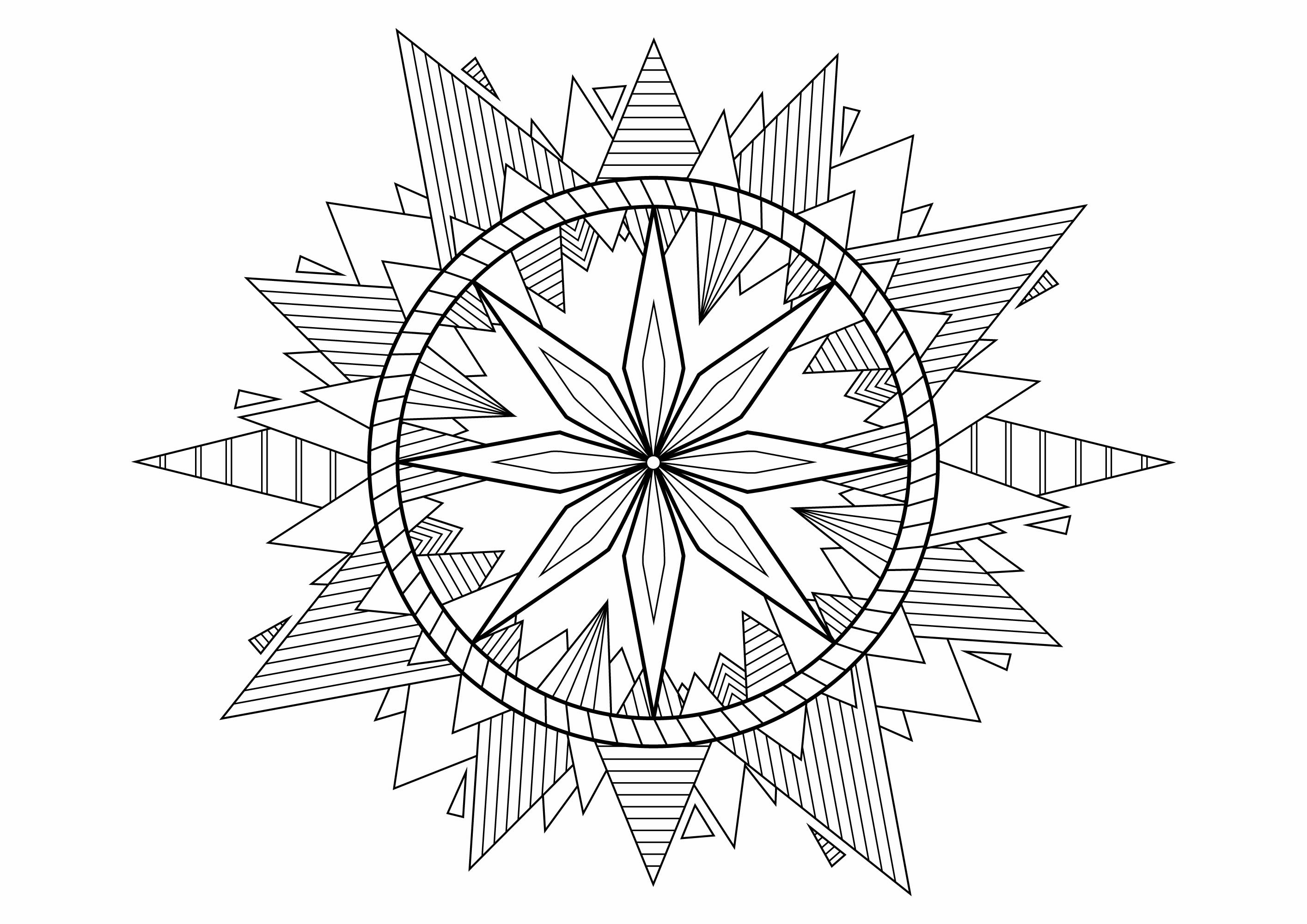 Color this cute Mandala with pretty spikes full of beautiful patterns to color