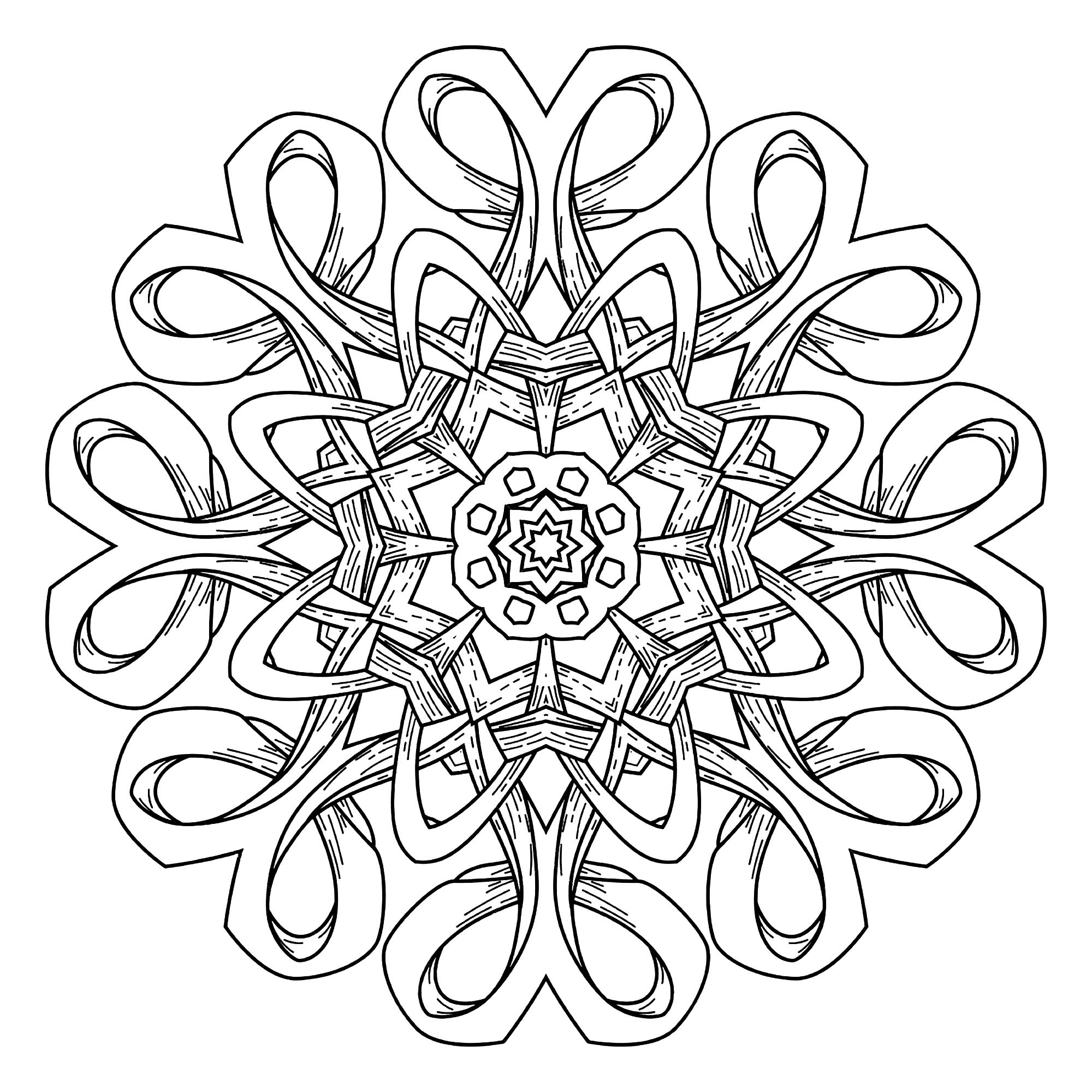A Mandala out of the ordinary, which will allow you to spend a good time coloring, without complicating your life with too small areas, if it's not what you search for.
