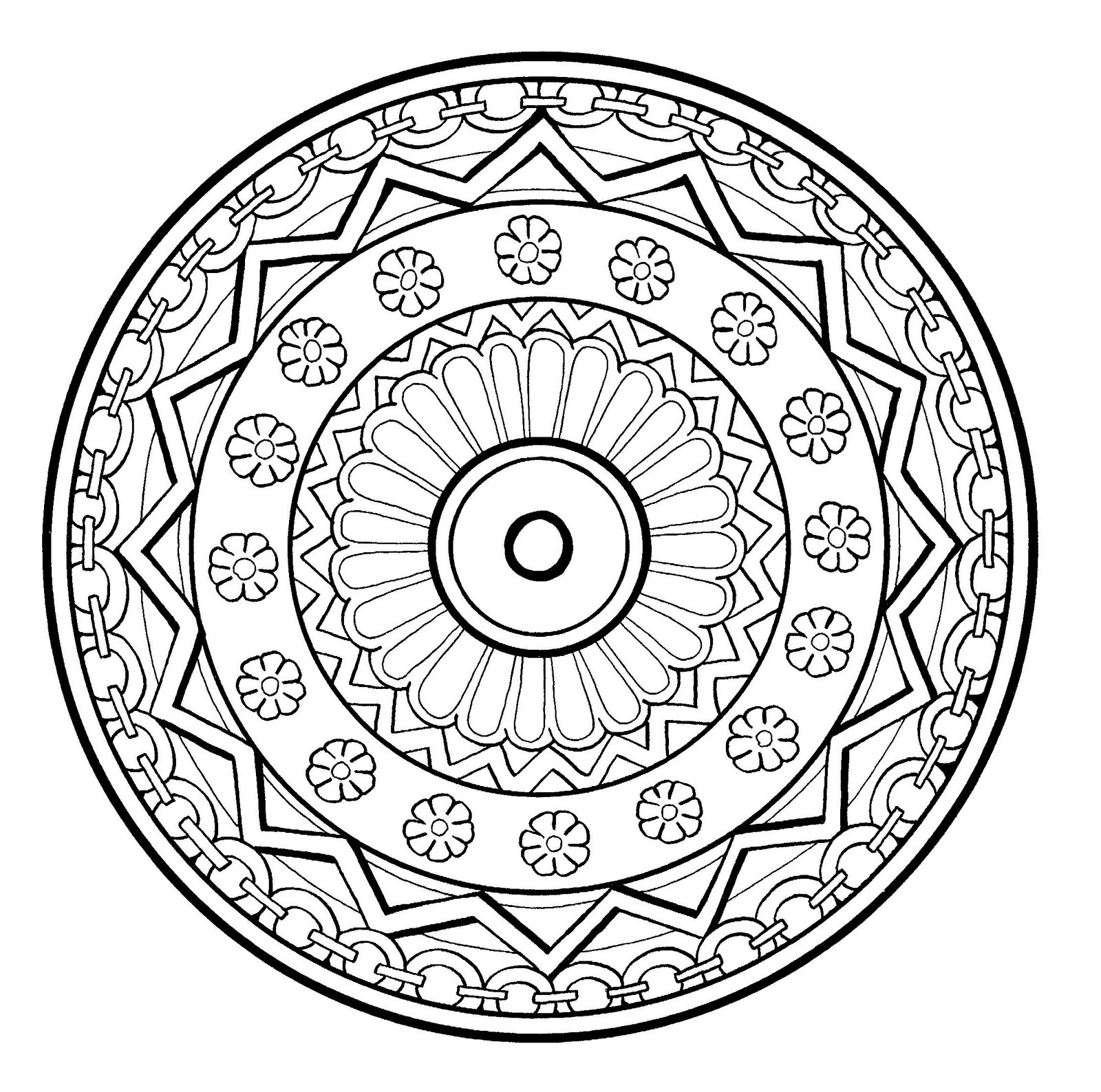 mandala drawing of normal difficulty level with flowers and abstract patterns very well drawn - Print And Color