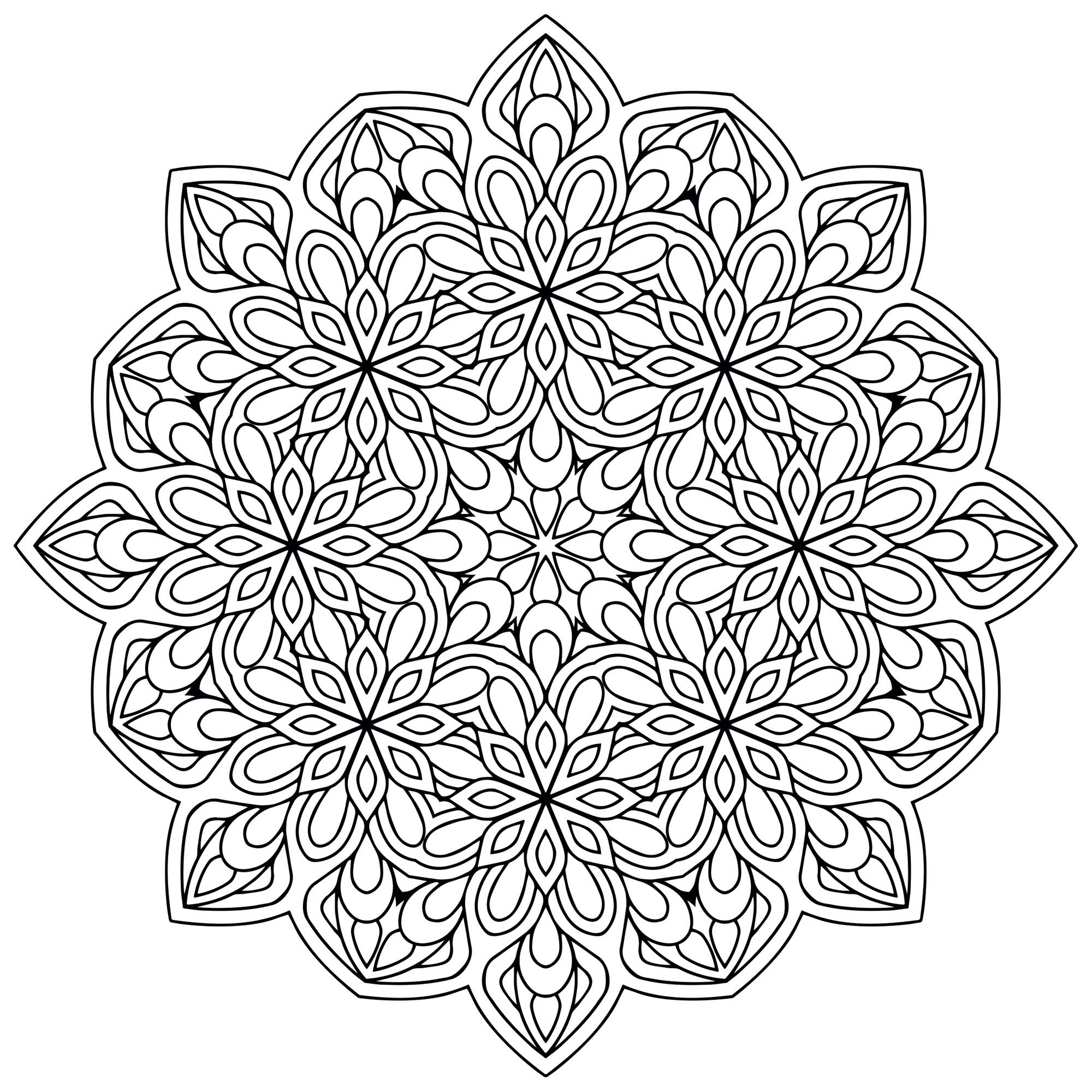 A Mandala of 'standard' difficulty level, which will be suitable for kids and adults who just want to color. Still your mind : this step is essential to get the most out of coloring to reduce your stress.
