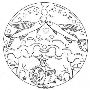 Mandala a imprimer poisson en mer 2