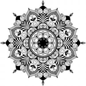 Black & White flowers Mandala