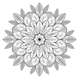 Flowery and leafy Mandala