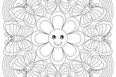 mandala-to-download-smiling-flower-and-butterflies