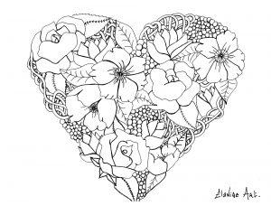 Mandala to print elanise art flowers in a heart