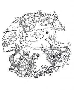 Mandala to print studio ghibli by chloe