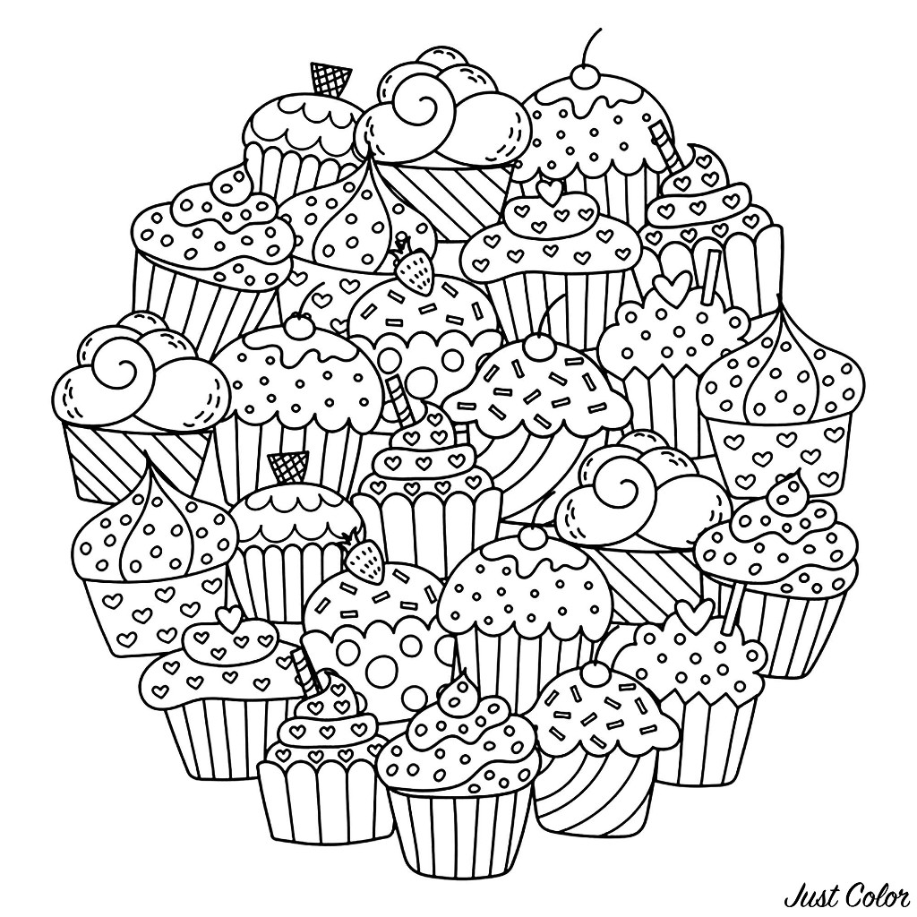 Color these delicious cupcakes composing this beautiful Mandala ... Add your favorite colors !