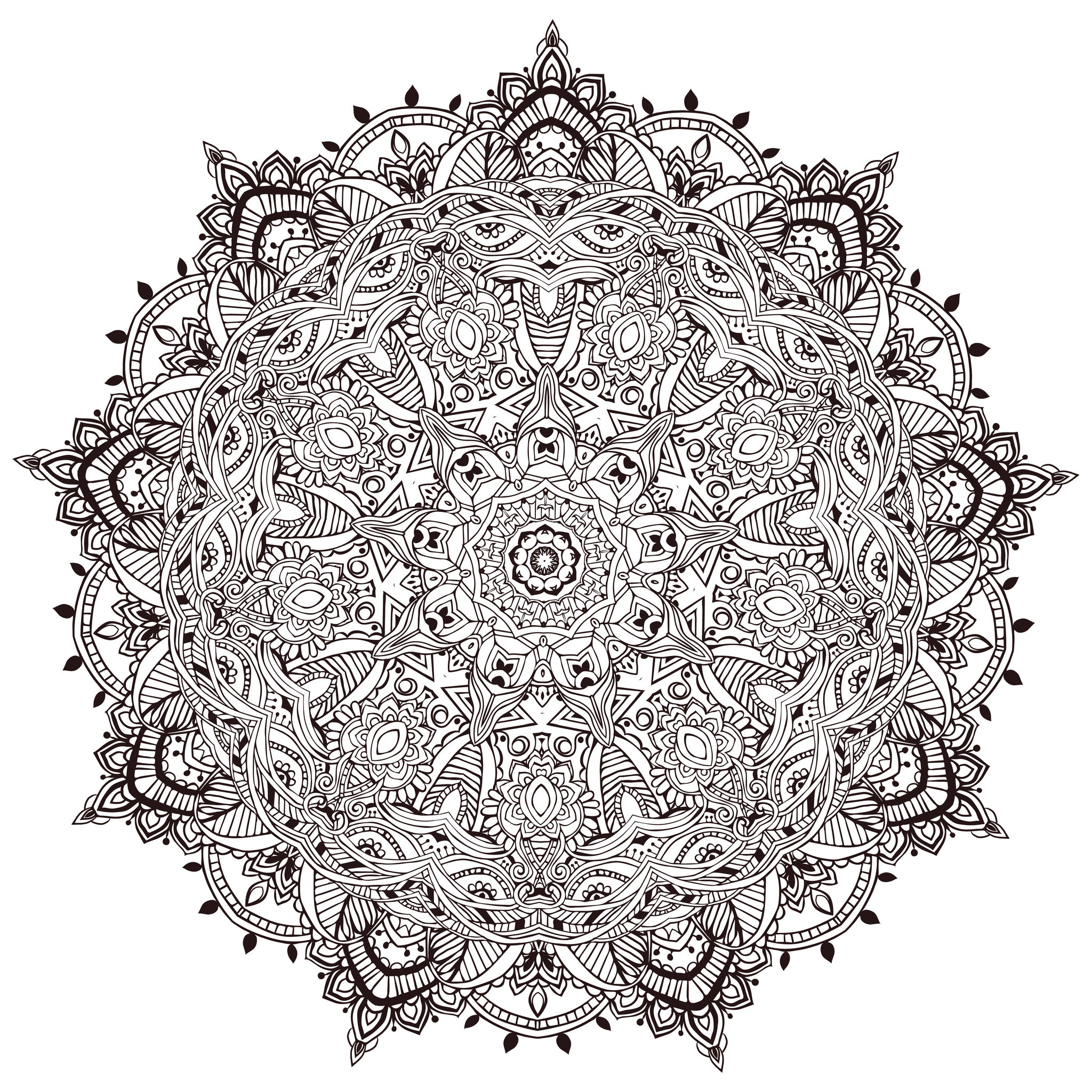 Color this ultra unique and complex Mandala coloring sheet ! To maximize the stress reduction, silence your cell phone and turn off computer and TV. You never saw a Mandala like this one !