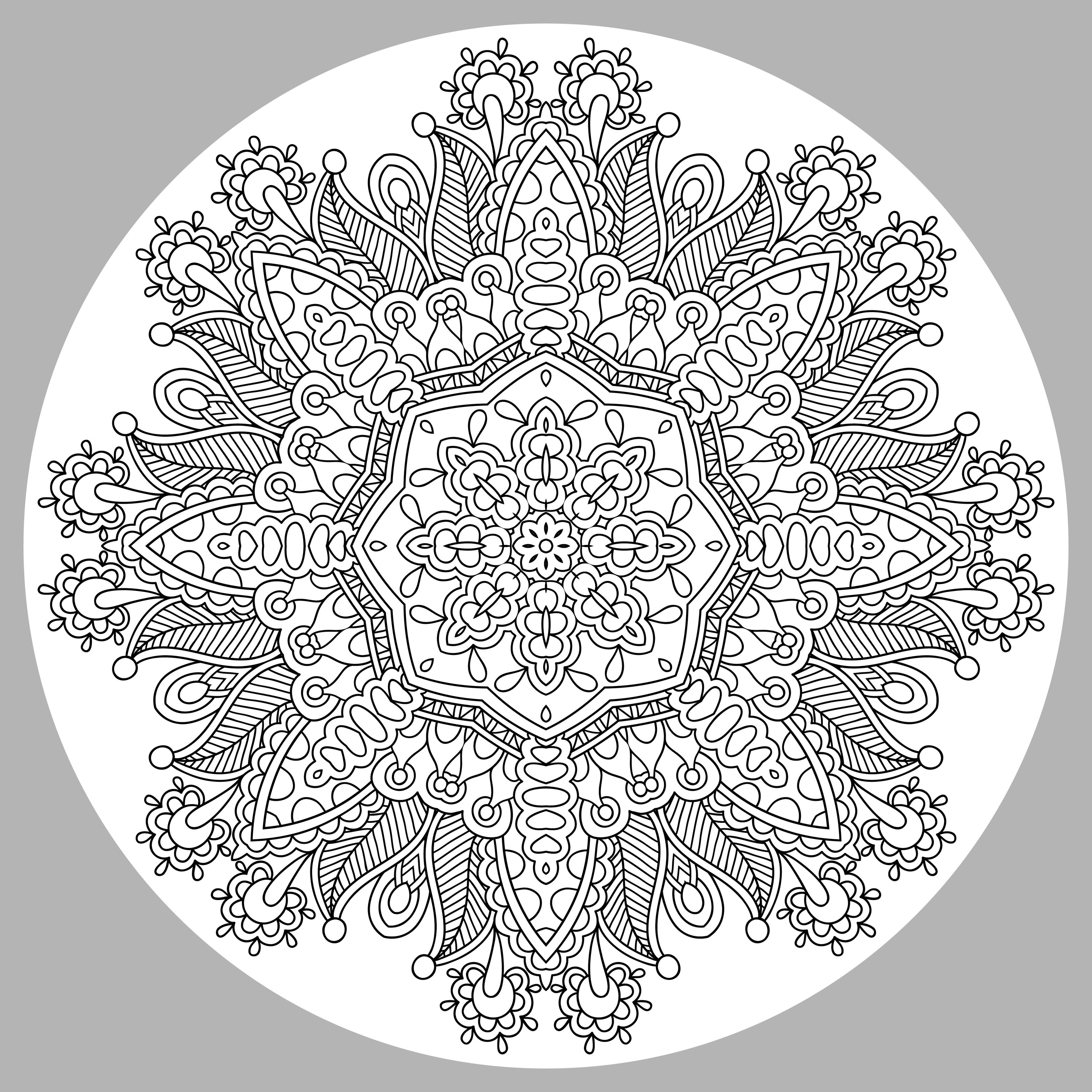 Harmonious Mandala coloring page by Karakotsya. This Mandala coloring page is really very difficult ! Its originality is that its background is grey. Courage, you can complete it. We recommend colored pencils, fine tip pens, or gel pens. You must clear your mind and allow yourself to forget all your worries, to reach the soothing that comes from coloring.