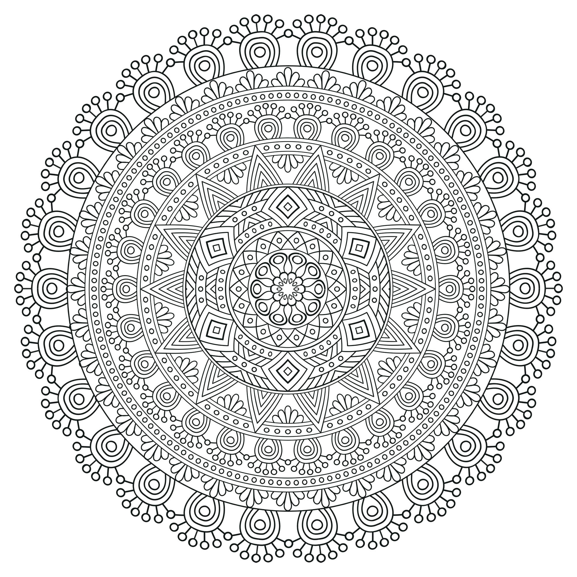 This Mandala coloring page is really very difficult, with all its levels ! Some patterns are repeated, others have small variations, which make it all very intriguing. Courage, you can complete it. We recommend colored pencils, fine tip pens, or gel pens.