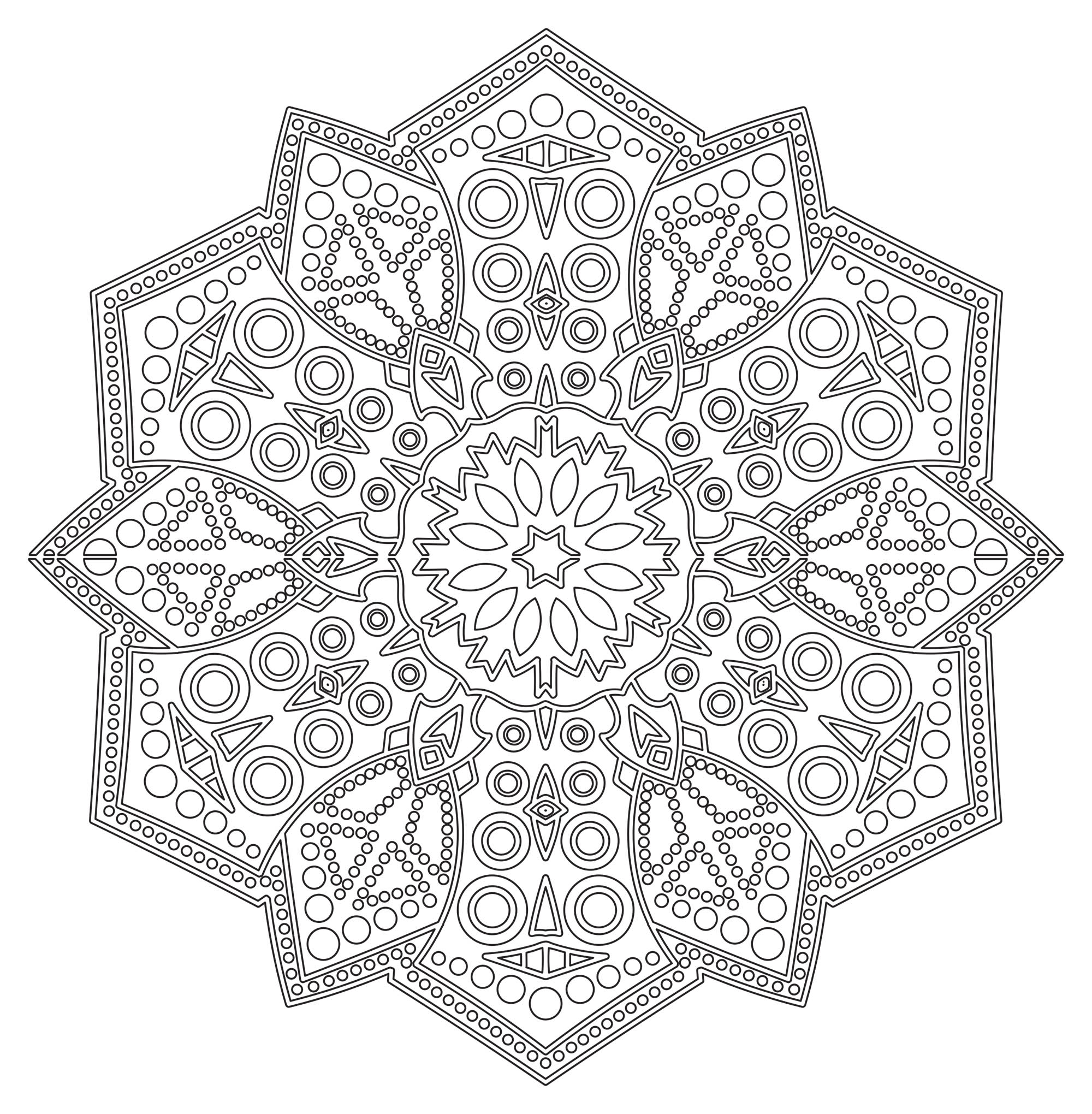 Prepare very fine pens and pencils, because this Mandala needs to be very meticulous, precise and picky, to get a good quality result. A lot of details and various patterns ... So just color it !