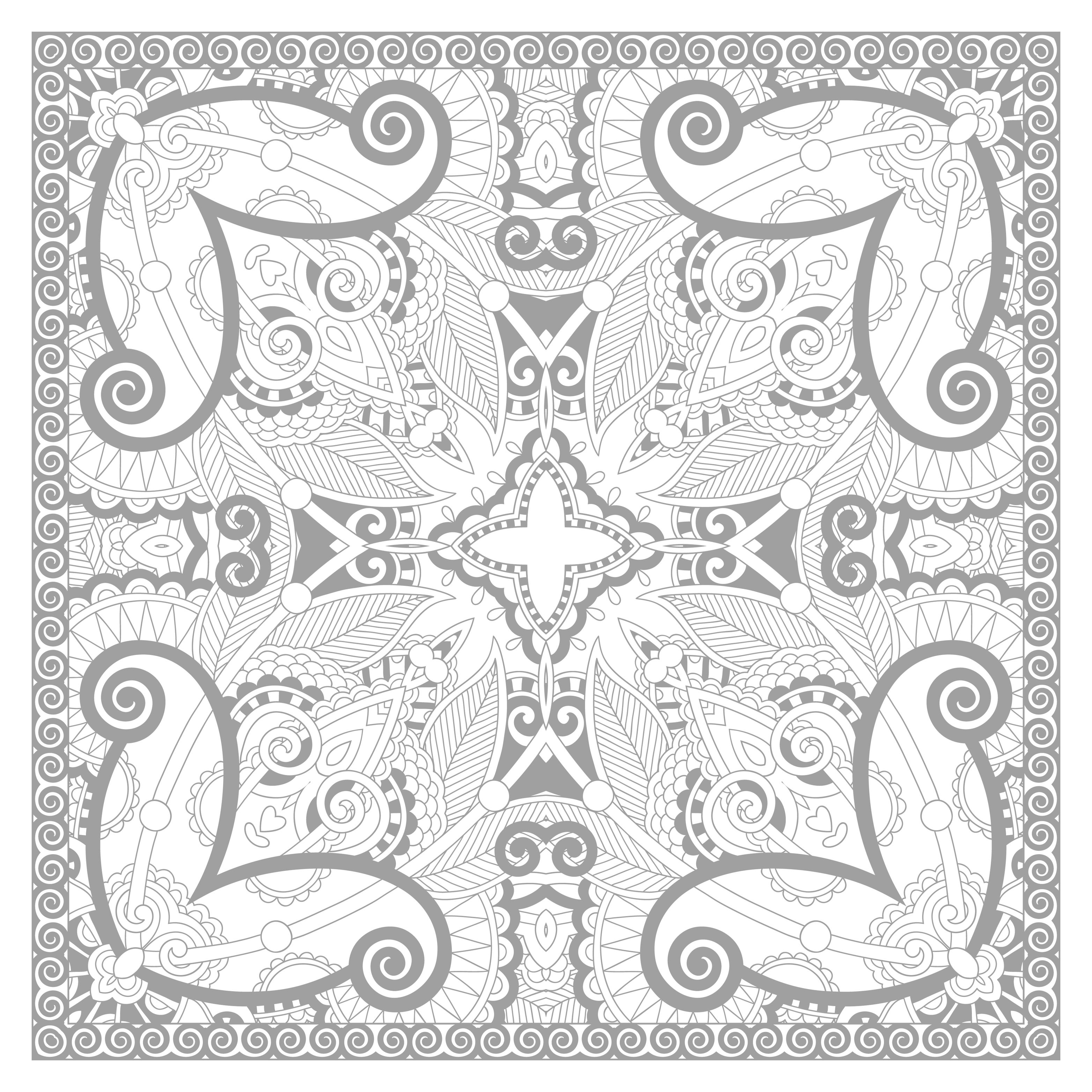 Very complex Square Mandala drawing full of details by Karakotsya. With this Mandala we reach the top of the difficulty ! Will you be able to color it in full perfectly ? Do whatever it takes to get rid of any distractions that may interfere with your coloring.