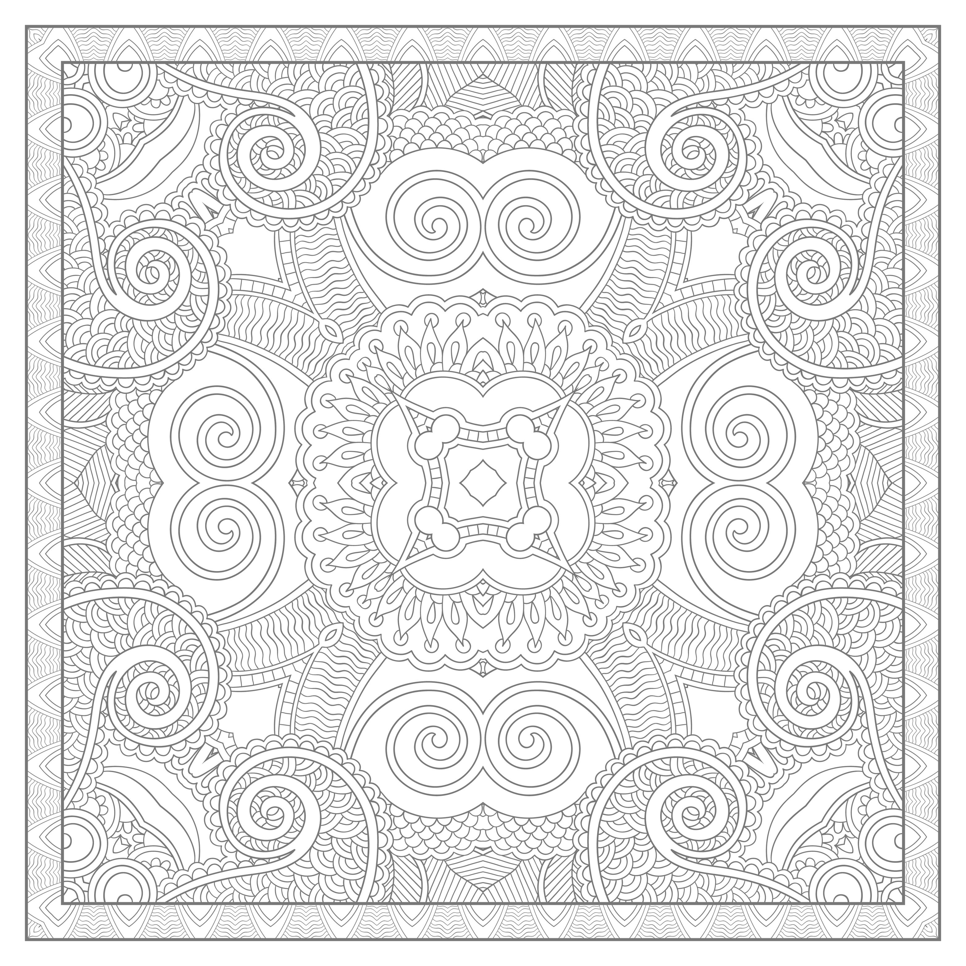Difficult Square Mandala drawing by Karakotsya, with grey lines. Color this ultra complicated Mandala coloring sheet ! To maximize the stress reduction, silence your cell phone and turn off computer and TV. Thanks to the grey lines, the colors you will use will be even more come out !