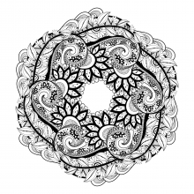 mandala-with-flowers-and-leaves-full-of-details free to print