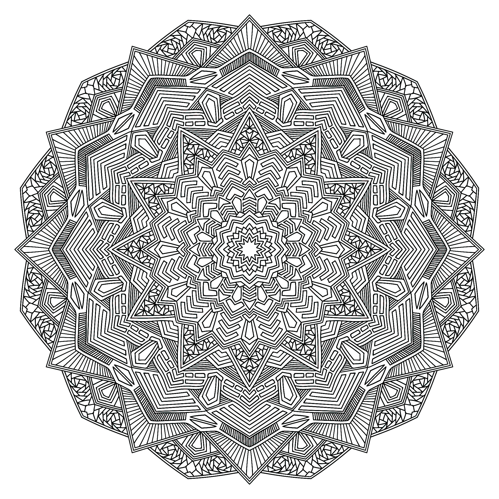 Mandala coloring page with multiple angles - Very ...