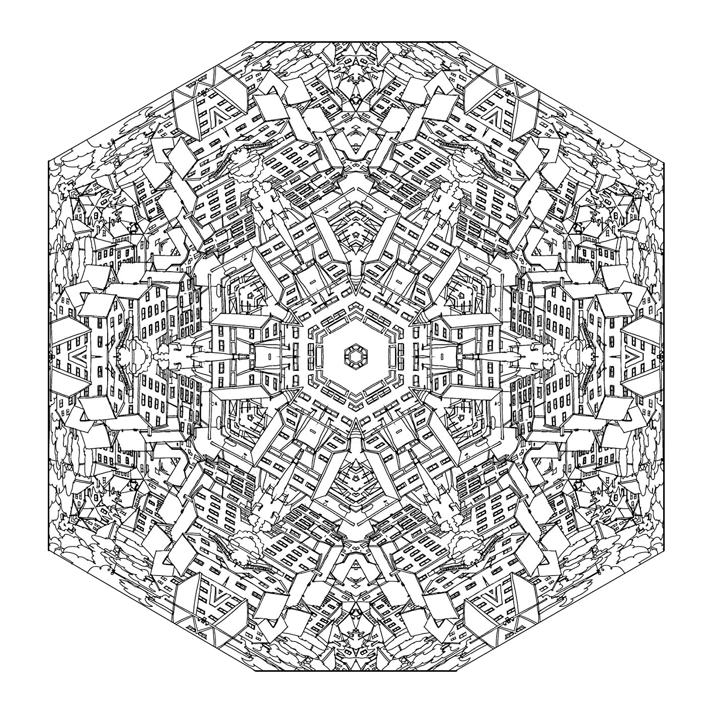 A Mandala for the pros ! High number of small areas making think about cities, streets, houses ... just waiting for colors chosen with artistic sense. Let your mind wander : this step is essential to get the most out of coloring to reduce your stress.