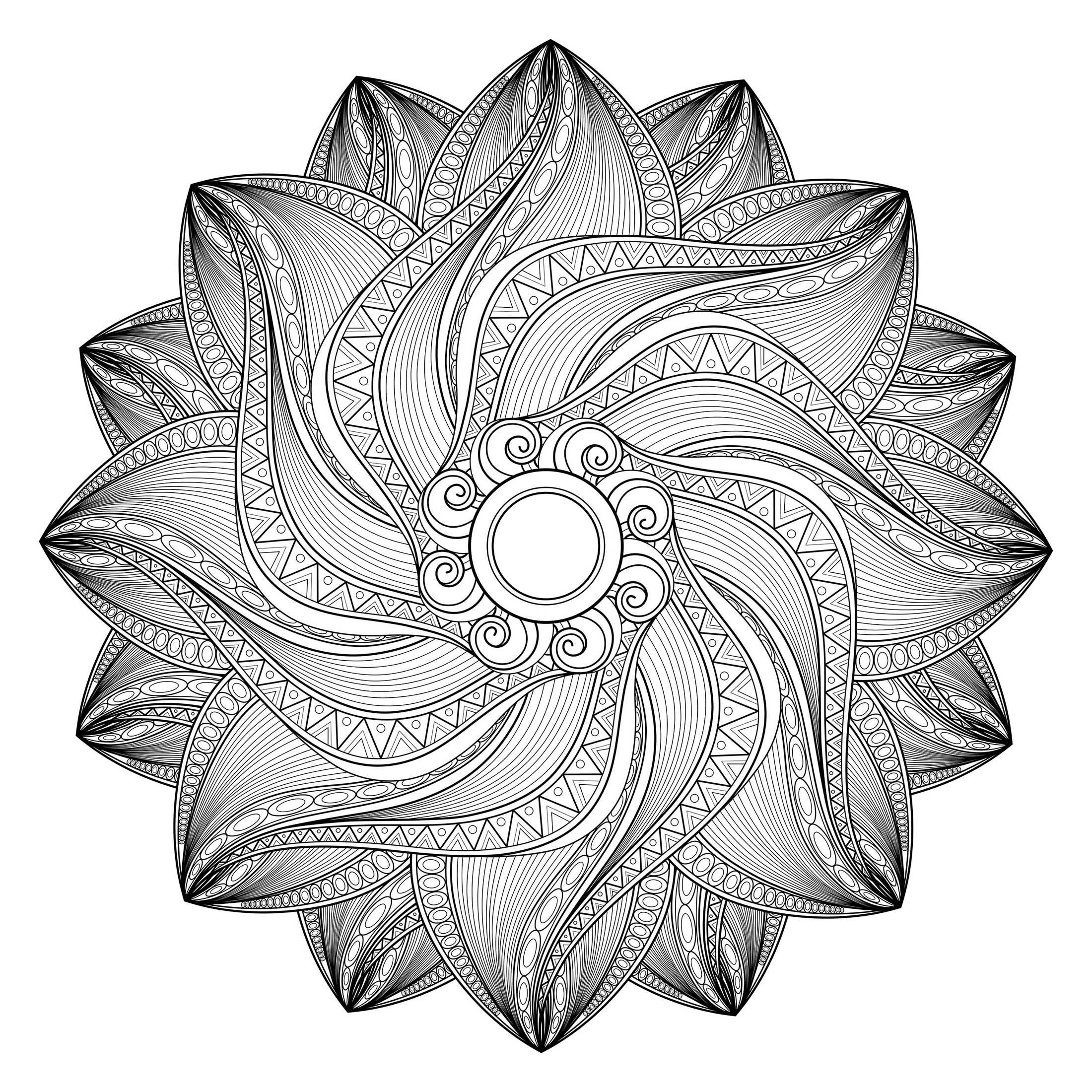 Patience and perseverance, this is what you will need to color this ultra complicated Mandala that seems to move, roll on itself, without stopping ! Do not be hypnotized !