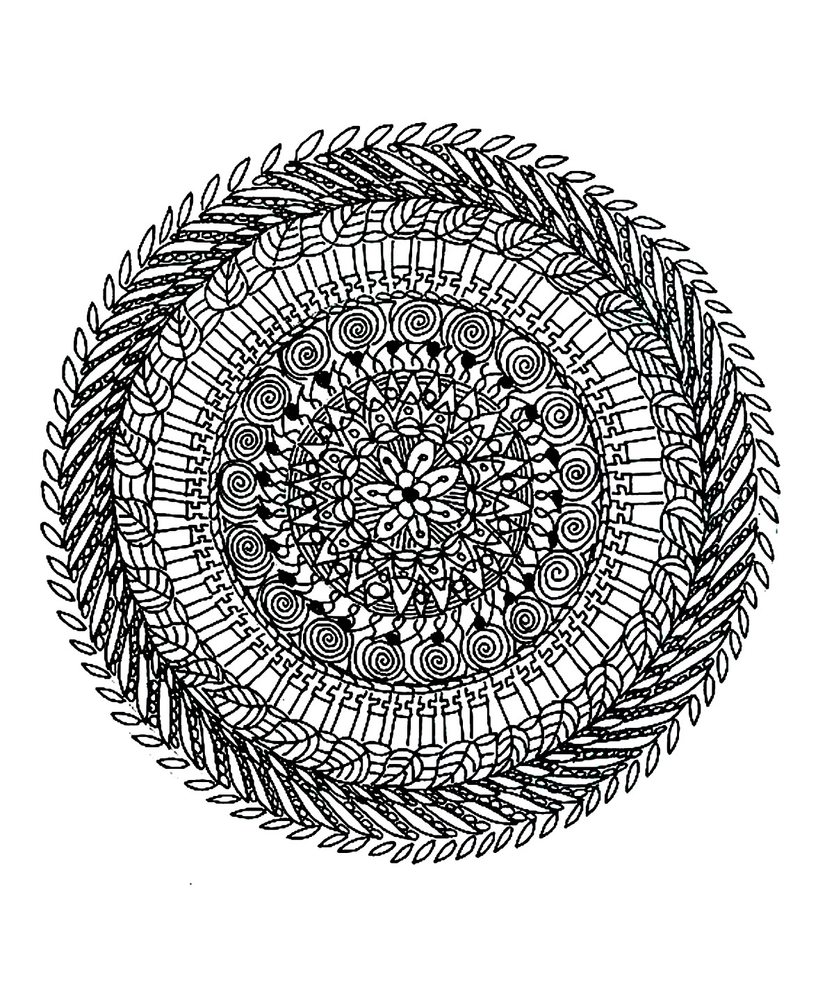 Mandala coloring page with different types of leaves. Prepare very fine pens and pencils, because this Mandala needs to be very meticulous, precise and picky, to get a good quality result.