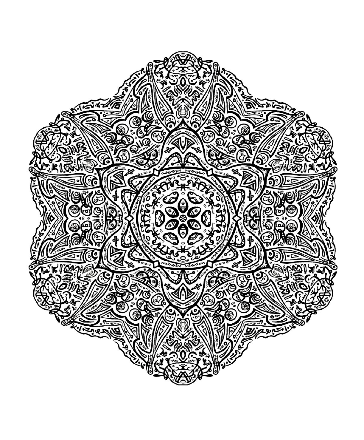 Mandala to color very difficult 2 - Very difficult Mandalas (for ...
