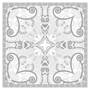 Squared complex Mandala coloring page