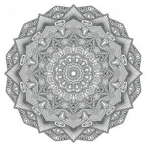 Mandala coloring page with multiple angles