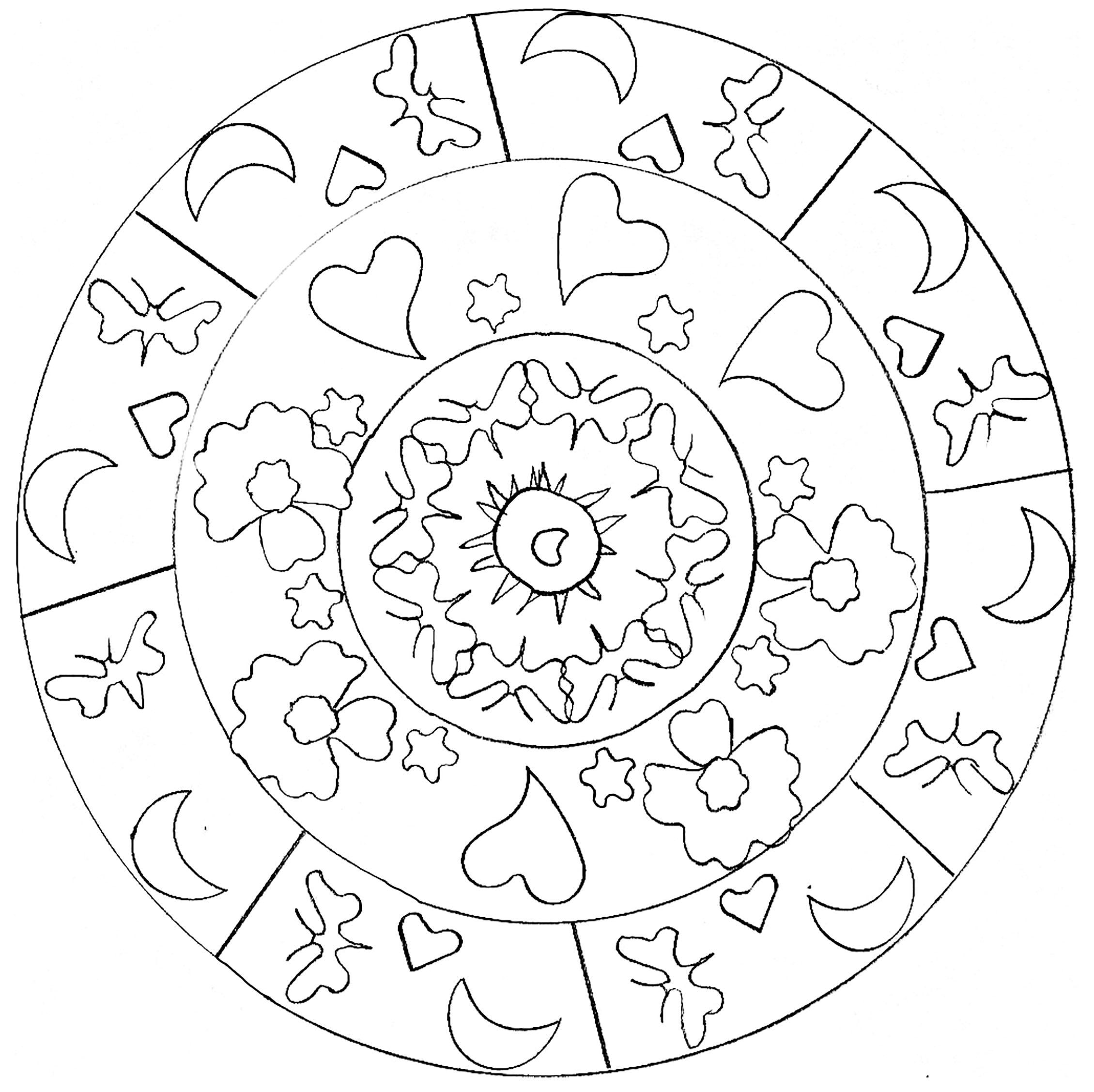 Cute Mandala drawing with moon, heart and stars
