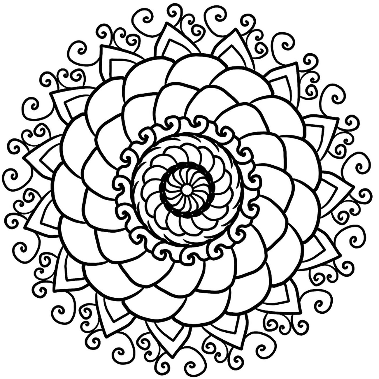 Color this beautiful Mandala and feel the benefits of coloring cool coloring pages. In various spiritual traditions, mandalas may be employed for focusing attention of practitioners and adepts, as a spiritual guidance tool, for establishing a sacred space and as an aid to meditation and trance induction.