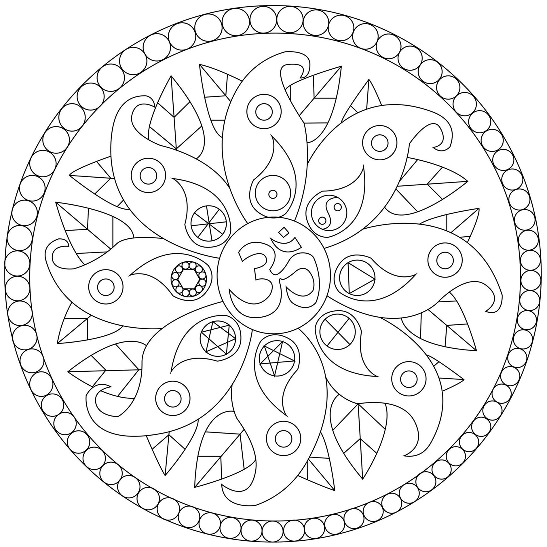 A very cute Mandala coloring page with petals, leaves an various symbols