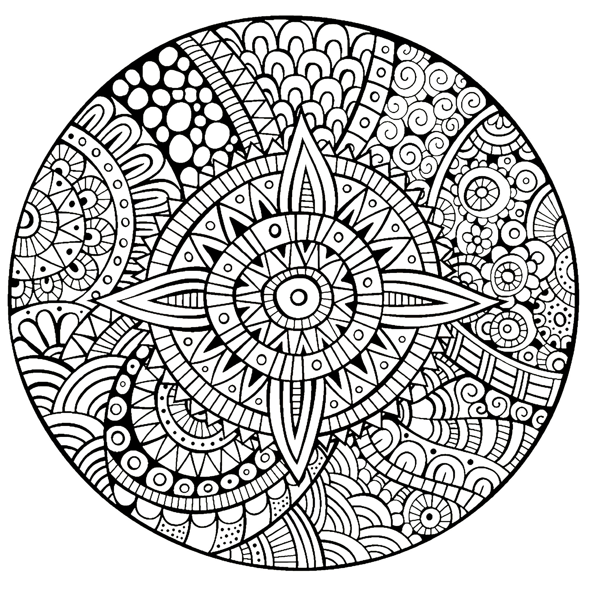 Magnificent and harmonious Zen & Anti-stress Mandala. Designing and coloring mandalas help with concentration.