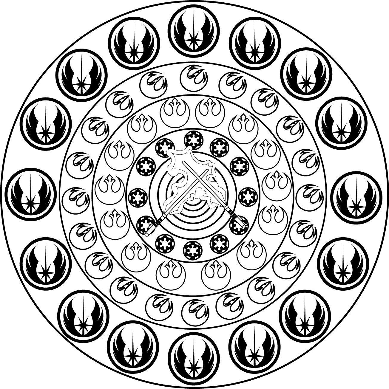 Mandala inspired by Star Wars ('The Alliance Starbird, also known as the Phoenix, was the insignia of the Alliance to Restore the Republic. It adorned the flight helmets of a number of Rebel pilots during the Galactic Civil War. It adopted the Marek family crest')