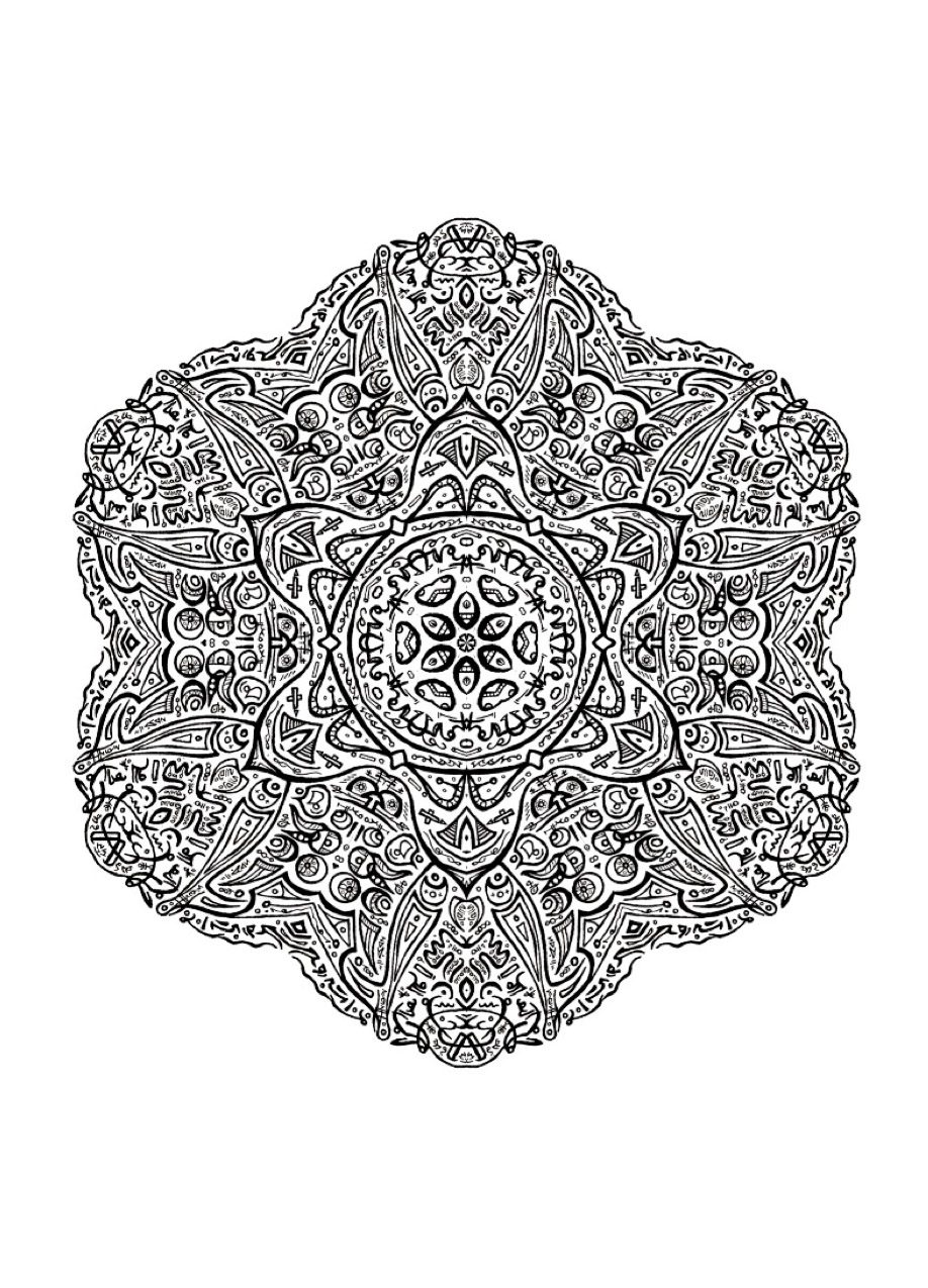 Very complex Mandala drawing, full of little details