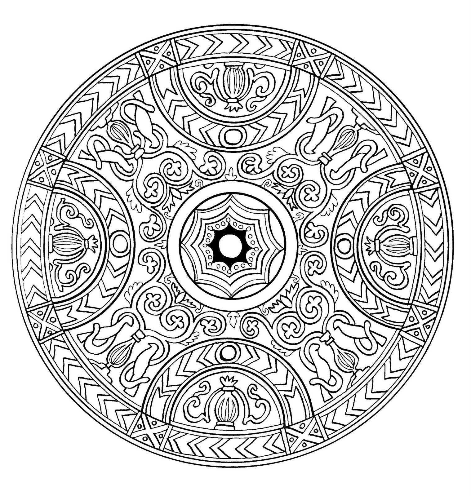Mandala drawing with an old style, making think of kings & queens