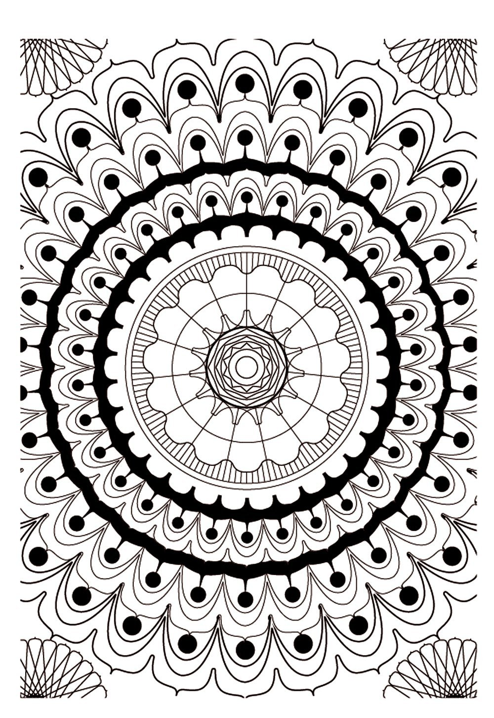 Mandala to color zen relax free 9 - Image with : Heart