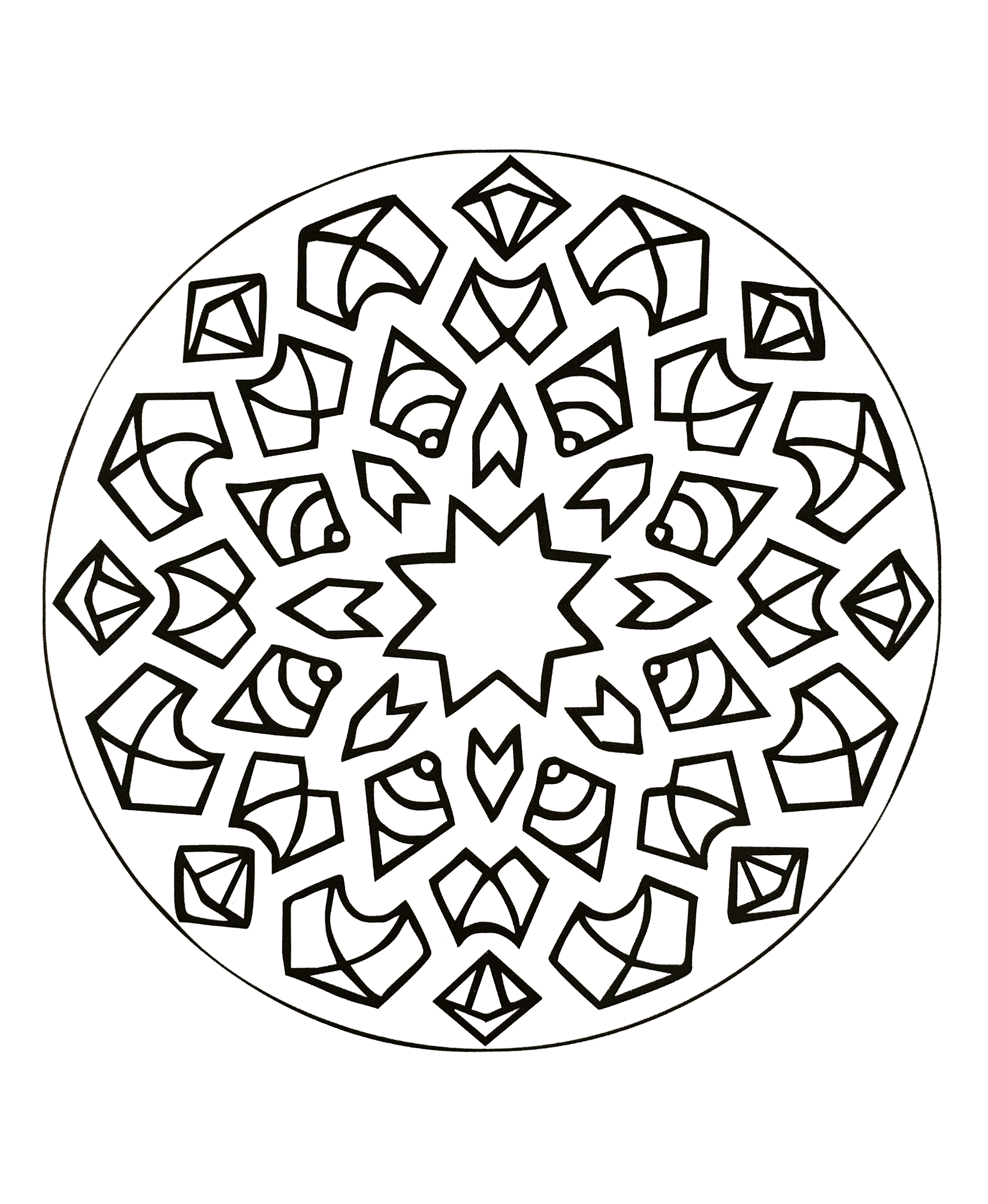 Offer yourself a parenthesis of relaxation with this beautiful Mandala coloring page, with the colors that please you the most. Color the different symbols, the stars, the abstract forms ...
