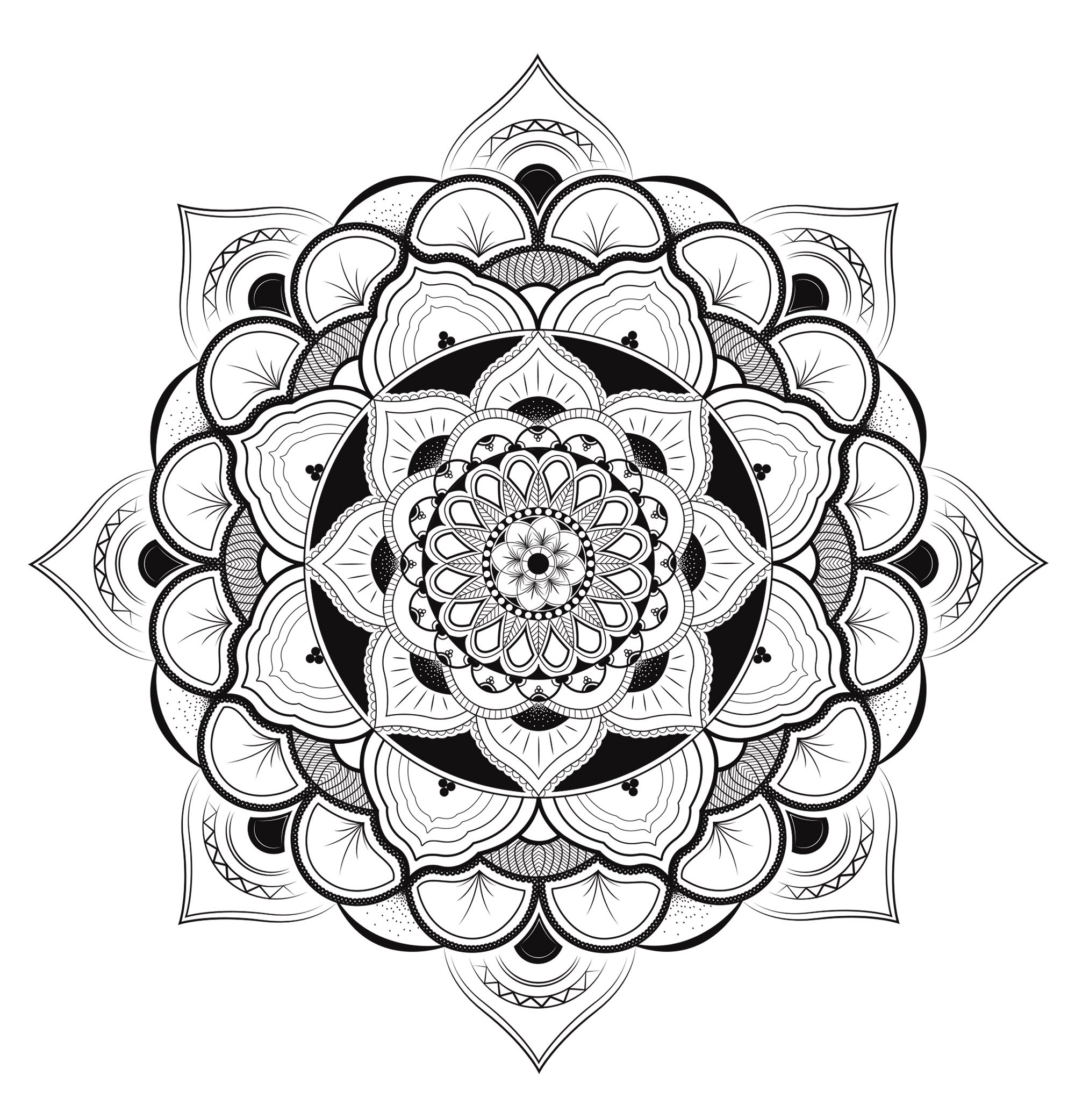 Mandala coloring page very complex, full of details, inspired by Hinduism. Unique Zen & Anti-stress Mandala. Designing and coloring mandalas give you a feeling of calmness.