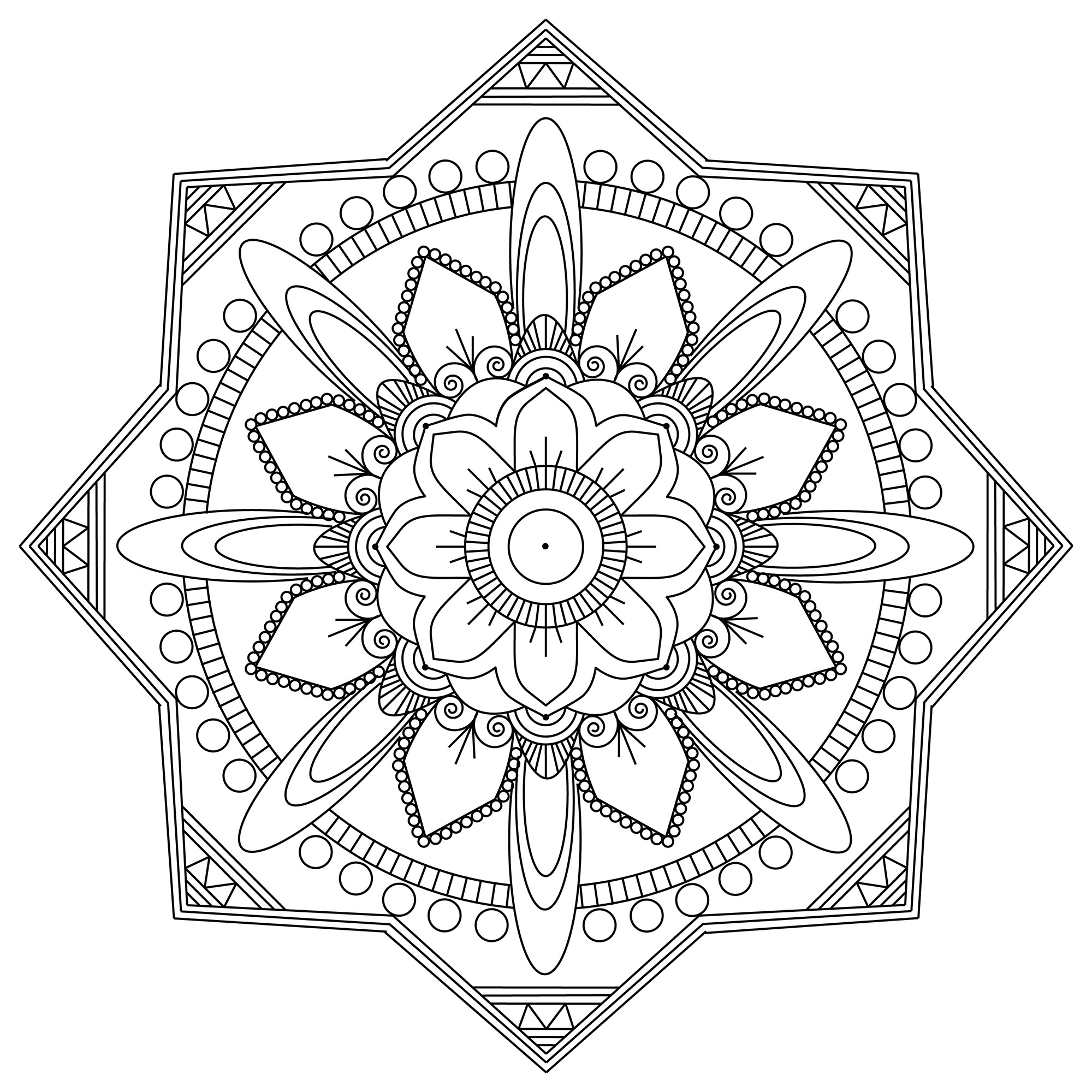 Express your soul, your passion, and let yourself be guided by your creativity to turn this Mandala into ART ! Mandalas are Buddhist devotional images often deemed a diagram or symbol of an ideal universe.