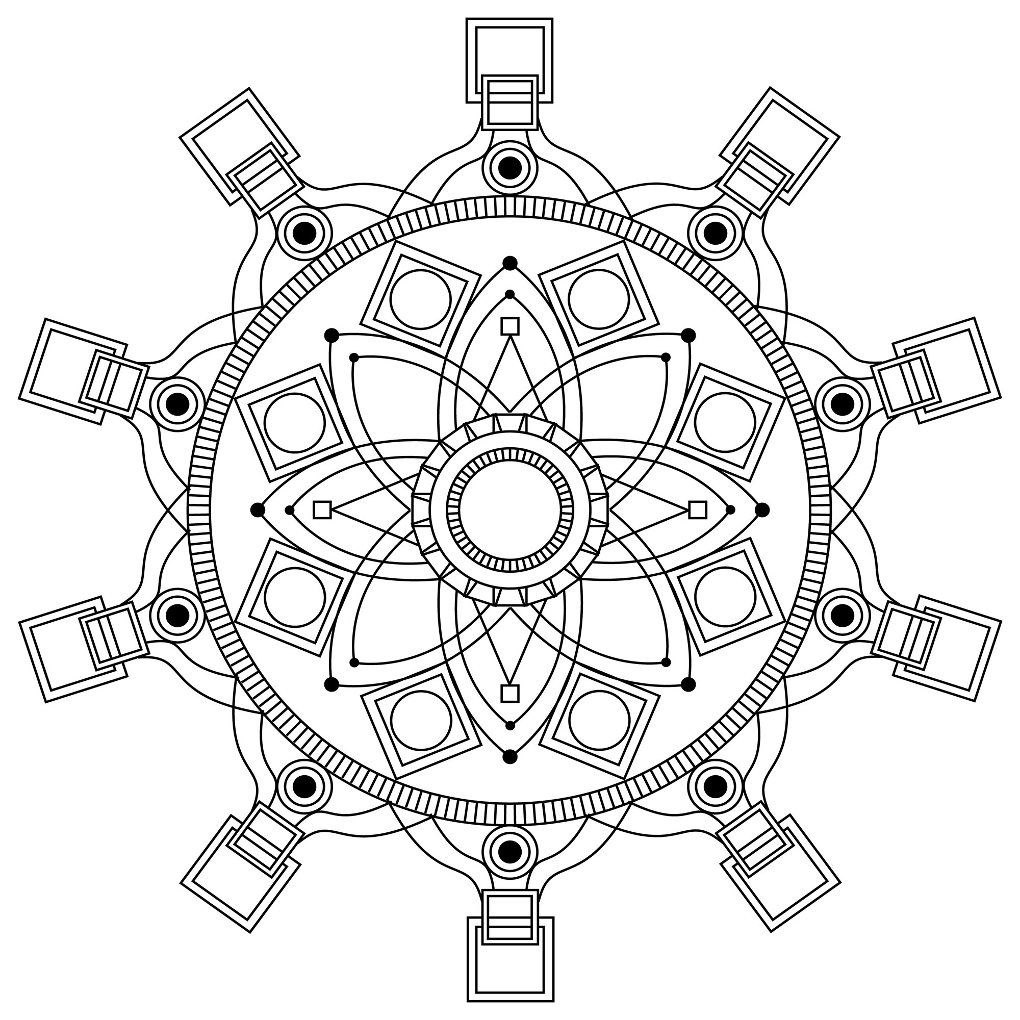 When coloring can really relax you ... This is the case with this Mandala coloring page of high quality. Mandalas offer balancing visual elements, symbolizing unity and harmony.