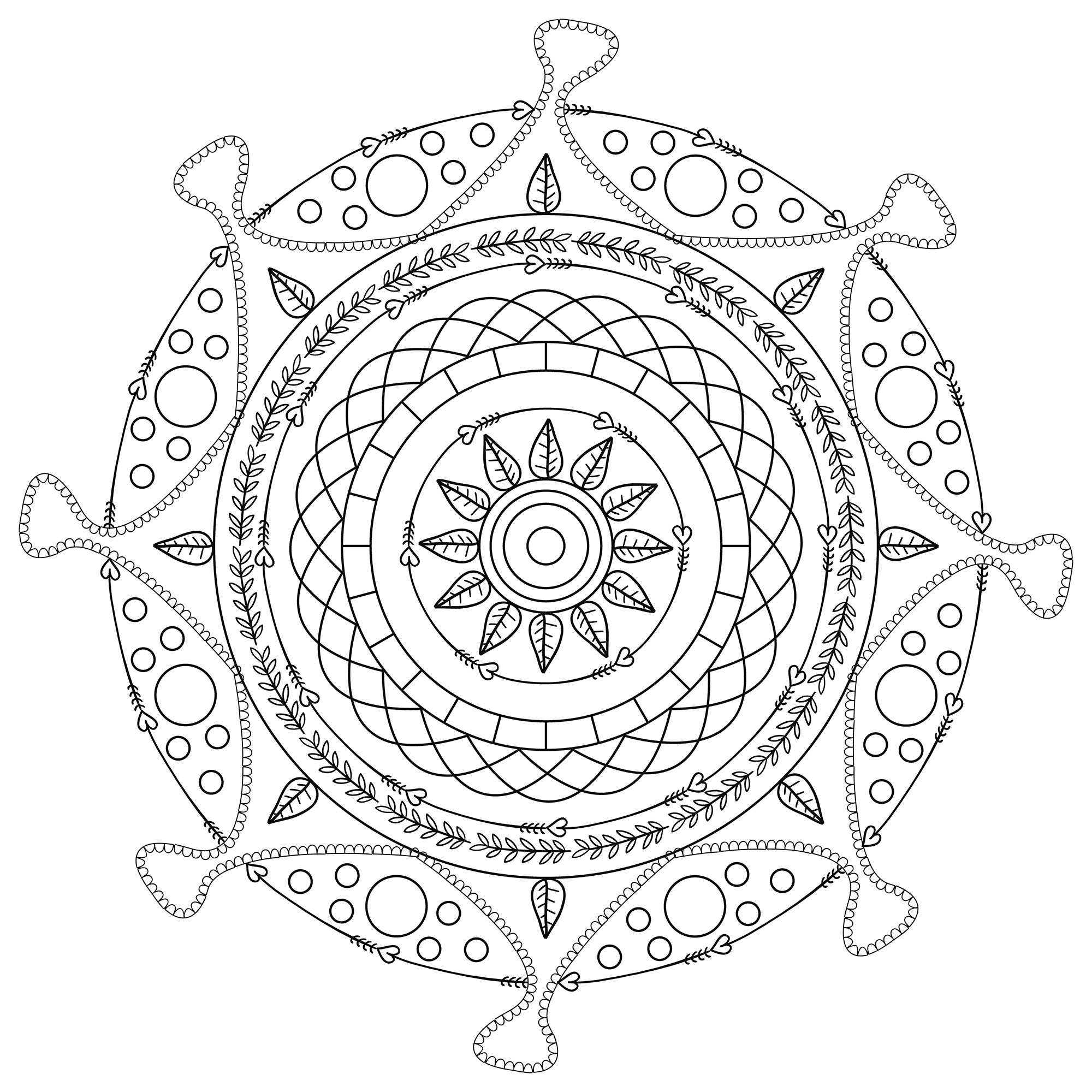 Elegant and harmonious Mandala ... When coloring can really relax you ... This is the case with this Mandala coloring page of high quality. The word 'mandala' is from the classical Indian language of Sanskrit.