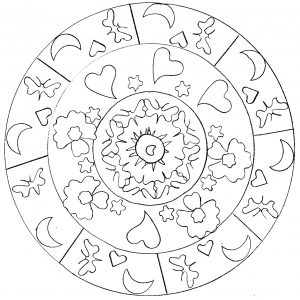 Cute Mandala drawing with moon, heart and stars