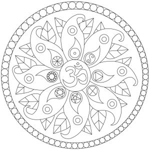 Mandala with petals and symbols