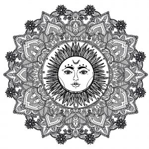 Mandala with sun in the middle