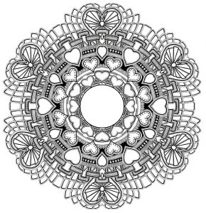 Mandala with hearts and cool symbols