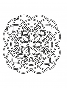 Mandala coloring page with fine ribbons