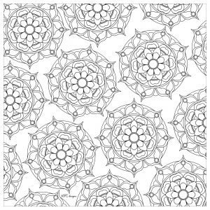 Square design full of little Mandalas