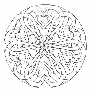 Mandala with hearts of different sizes